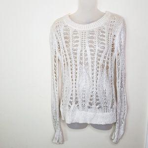 Bebe Metalli Cream Fish Net Long Sleeve Sweater